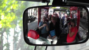 Charles Oropallo and Susan Oropallo on a tour bus on route to the Eiffel Tower on July 12, 2014. Photo by Charles Oropallo.