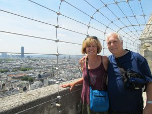 Susan Oropallo and Charles Oropallo at upper level of Notre Dame in Paris, France on July 17, 2014.